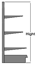 Wall Mount Shelf Heights are available in: